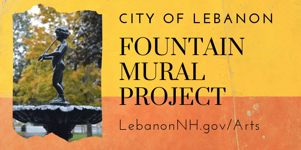 Fountain Mural Project promo with photo of fountain by Nancy Peavey.