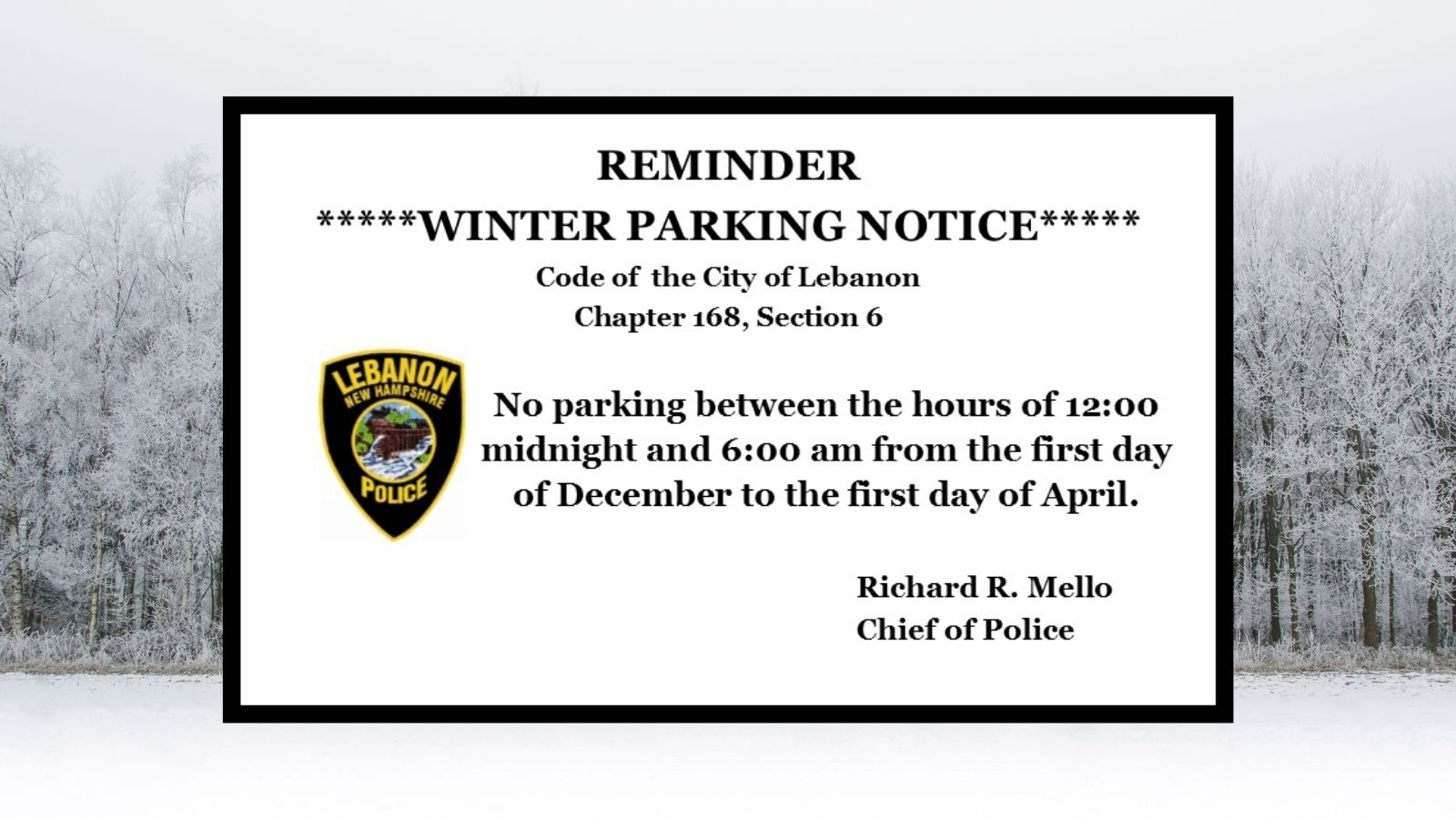 LPD Winter Parking Ban reminder windshield notice