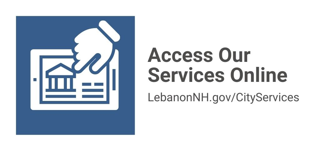 Access our services online with finger clicking screen displaying a city hall building