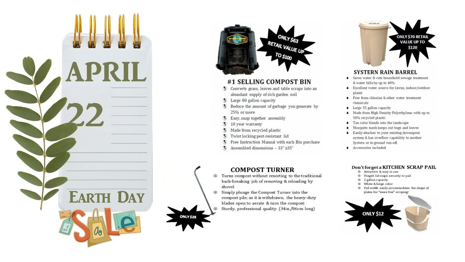 earth day sale with photos of compost and rain barrels as well as compost pail and turner