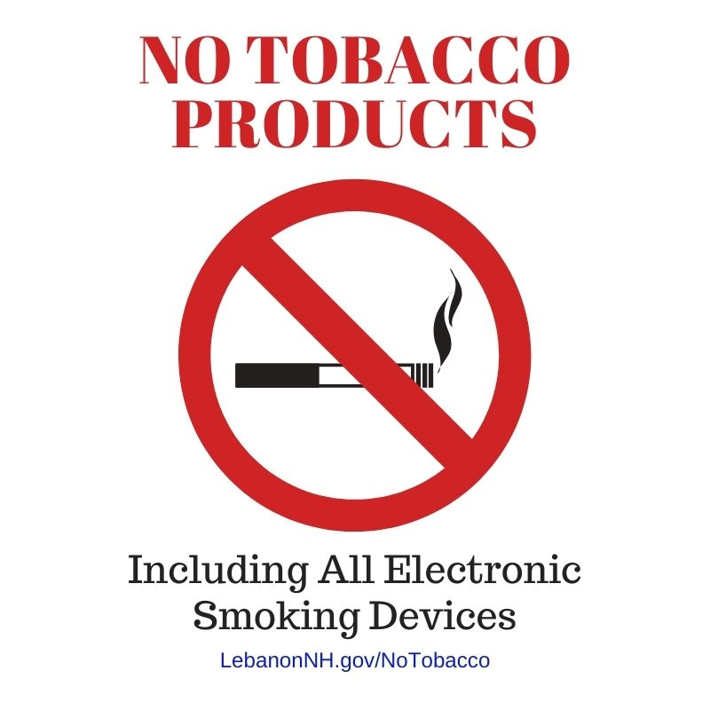 No Tobacco Products including all electronic smoking devices sign