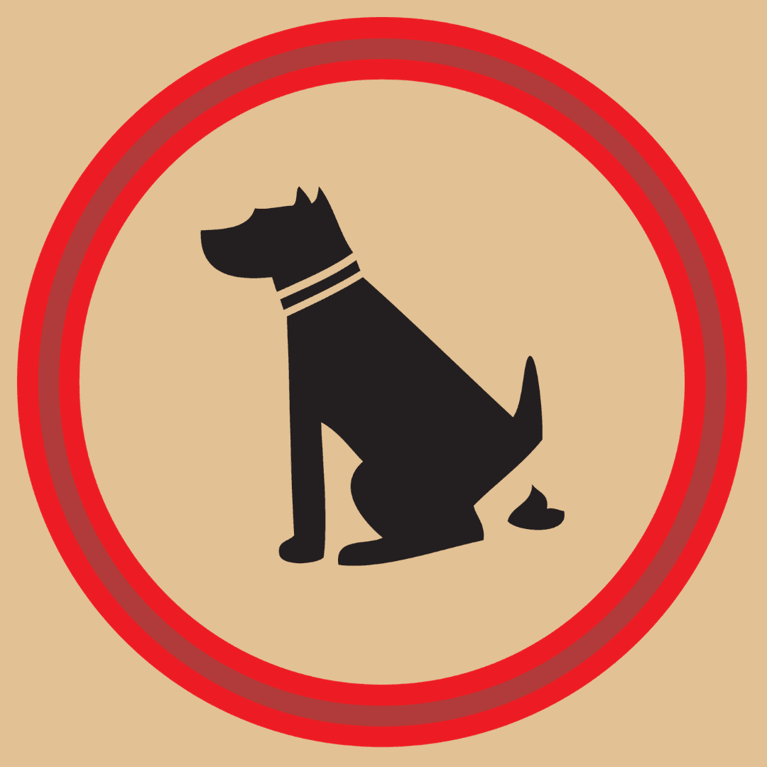 clipart of dog pooping with a crossed out line across it