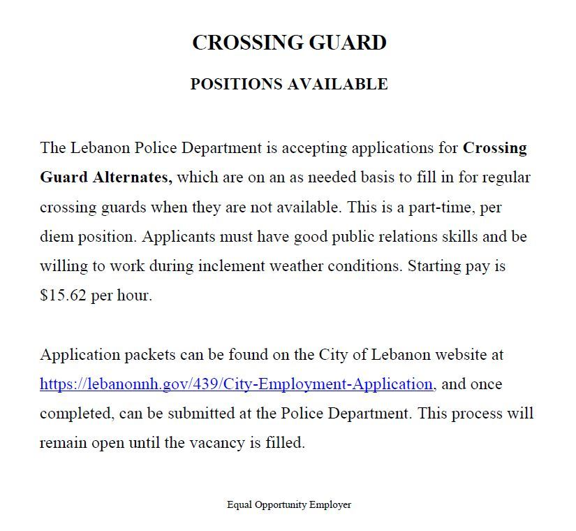 Alternate Crossing Guard Employment Posting