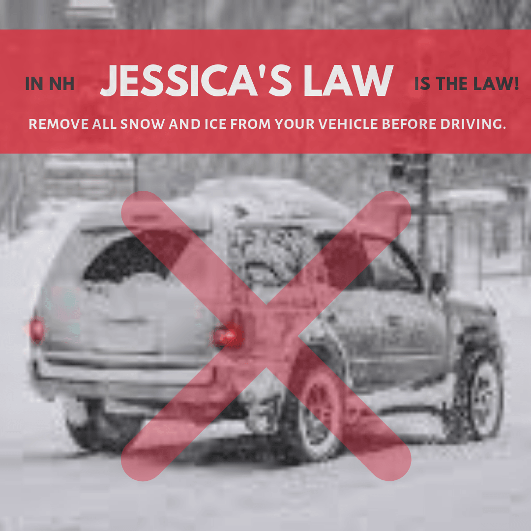 Jessica's Law promo with photo of snow covered vehicle with X over it