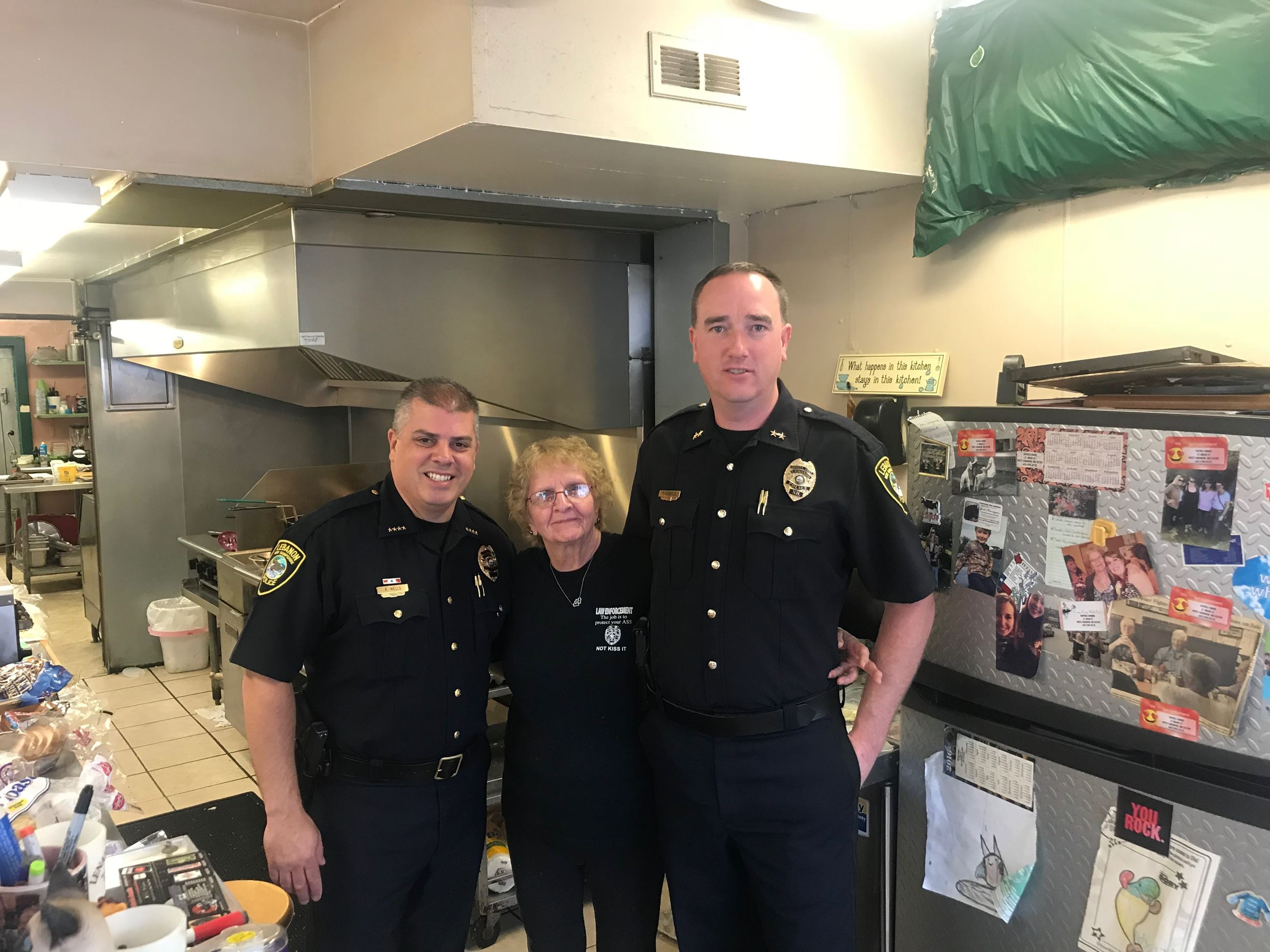Chief Mello, Deputy Chief Roberts, and Shryl from Shryl's Diner