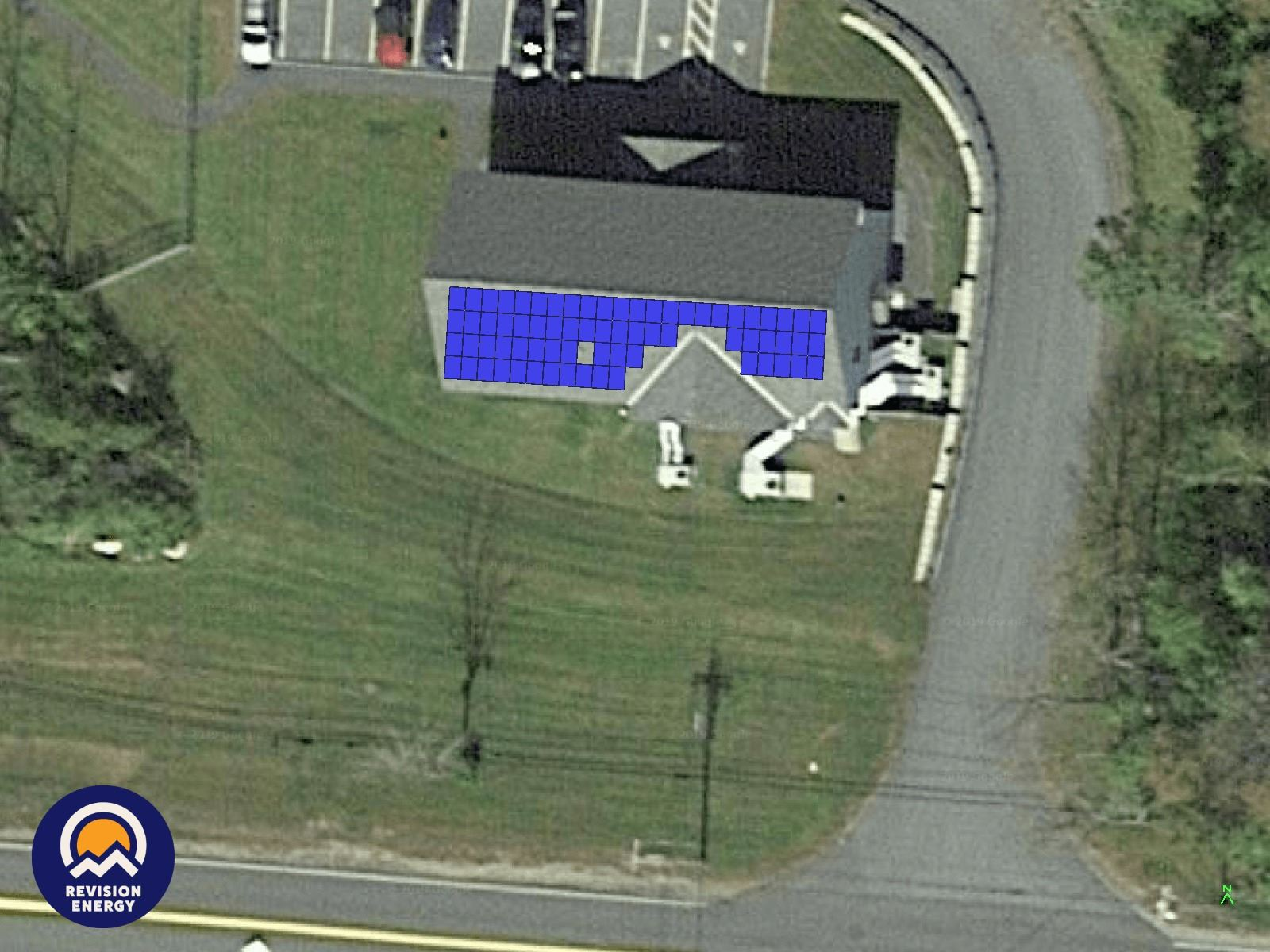 Lebanon Public Works Administration Building roof with solar array depiction Opens in new window