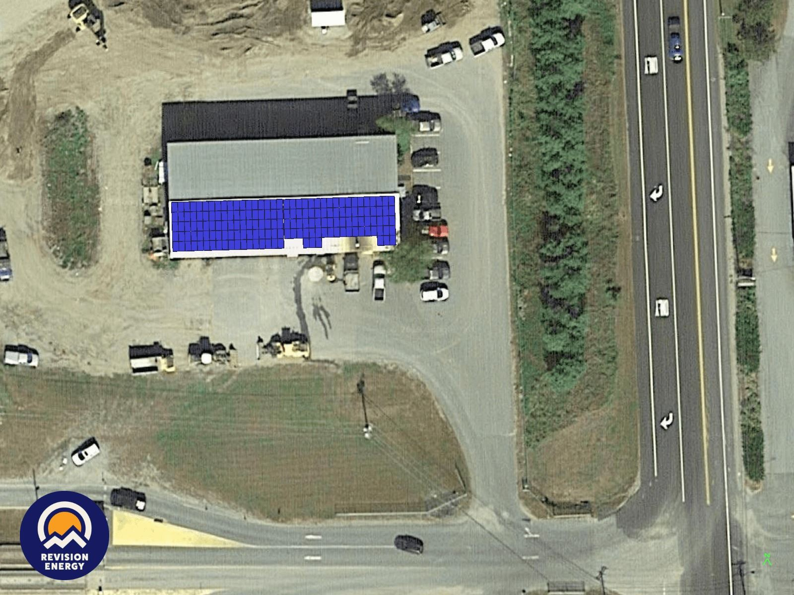 Landfill Maintenance Building roof with solar array depiction Opens in new window