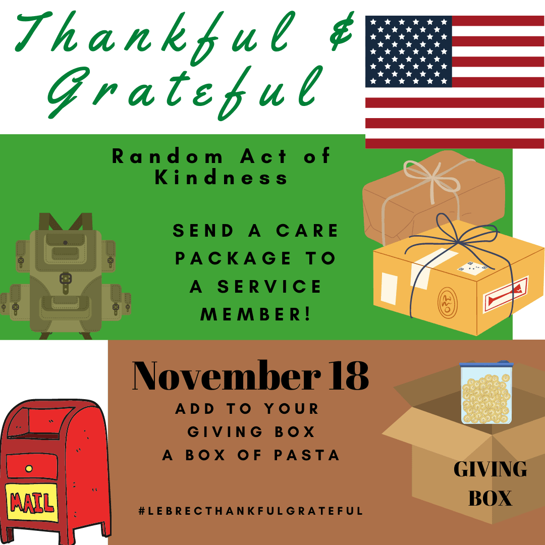 November 18 - Send a care package to a service member. Add a box of pasta to your giving box. Opens in new window