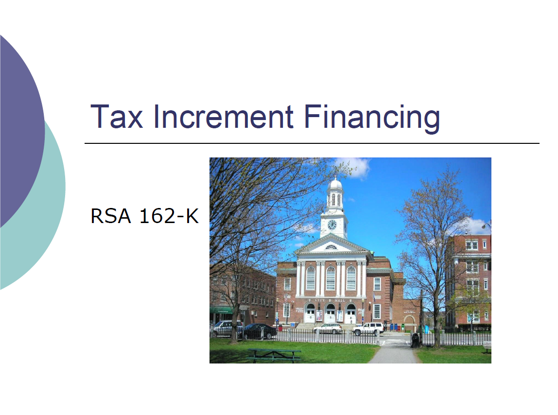 Tax Increment Financing (TIF) RSA 162-K cover slide with photo of Lebanon City Hall